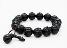 Buddhist Mantras Bracelet Lightning Wood Beads Carved Om Mani Padme Hum -02
