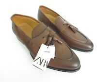 New ZARA Z2 Moccasin EMBOSSED BROWN LEATHER LOAFERS Shoes $119 EU 44 US 11 [A84]