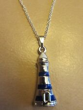 "18""  925 Sterling Silver Chain Blue Lighthouse Ocean Beach Pendant Necklace"