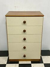 Vintage retro teak and cream finished five drawer chest of drawers - Delivery