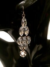 Womens Ladies Long Hook Statement Clear Crystal Diamante Drop Dangle Earrings