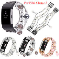 For Fitbit Charge 3 Bling Agate Beads Strap Watch Wrist Band Jewelry Bracelet