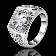 Engagement Size 9 Fashion Women white Rhodium Plated White Topaz Wedding Ring