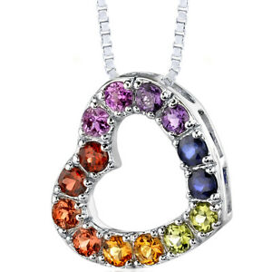 2 CT Round Blue Sapphire Sterling Silver Pendant