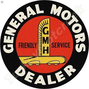 GENERAL MOTORS DEALER 11.75in ROUND METAL SIGN