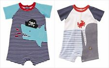 NWT Mud Pie Pirate Shark Whale Baby Boys Blue Striped Romper Jumpsuit Shortall