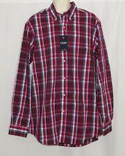 Mens LARGE TALL Dress Shirt NEW Long Sleeve CHAPS Ruby Plaid LT Big & Tall NWT