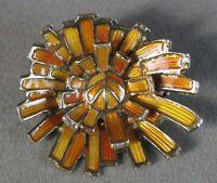 Vintage Sterling Silver Enamel Flower Burst Pin Norway David Andersen #J2862