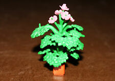 Playmobil végétation décor arbuste plante verte à fleurs roses 8 cm ref bb