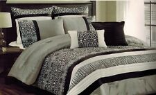 Hallmart Collectibles SARPA King 8 Piece Comforter Set Black Gray White $300