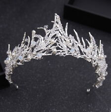 6cm High Silver White Leaves Pearl Crystal Adult Tiara Crown Wedding Prom Party
