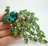Gorgeous Bird Peacock Green Crystal Rhinestone Art Nouveau Gold-tone Brooch