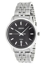 SEIKO DRESS BLACK DIAL DATE ST. STEEL CASE & BRACELET MEN'S WATCH SUR031 NEW