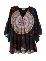Umgee Plus Medallion Floral Print Tunic Top Black Ruffles V Neck Boho Chic 2XL