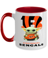 BENGALS Coffee Mug, Pink Two Toned Cincinnati BENGALS Yoda Coffee Mug Gift