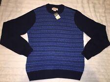 PENGUIN Munsing Wear Mens Blue  Crewneck Knitted Sweater Shirt Size LARGE NWT