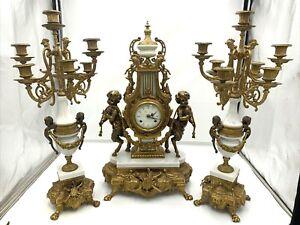 Antique Bronze Brass Marble BREVETTATO IMPERIAL Mantel Clock and Candelabra Set