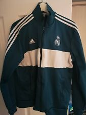 Adidas Real Madrid Football Club Tracksuit Top  Zip Teal White Official Size XL