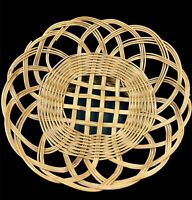 Boho Chic Footed Elegant Wicker Rattan Basket Wall Hanging Decor Hippie Vintage