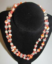 BEAUTIFUL VINTAGE ORANGE NECKLACE MILK GLASS LUCITE BEAD SHELL FAUX PEARL MARBLE