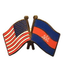 Cambodia Friendship with USA Flag Lapel Badge Pin