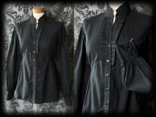 Gothic Black Frilled ARISTOCRATIC High Neck Governess Blouse 10 12 Victorian