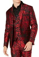 INC Mens Blazer Black Red Size XL Animal Jacquard Slim Fit Peak-Lapel $149 240