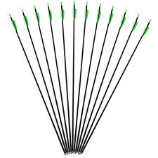 "30"" Carbon Arrows Spine 700 Archery Arrow Fletching F Recurve Bow Green 12pieces"