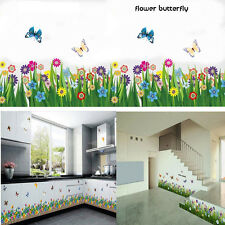 Removable Butterfly Grass Flower Wall Sticker Vinyl Art Mural Decal DIY Decor