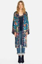 Johnny Was Hazel Kimono Long Silk Blue Multi Color XLarge Embroidery XL Hobo New