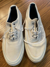 Vtg Converse white canvas Sneaker Tennis Shoes blue label made in Usa Size 5