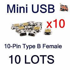 10 Lots Mini USB 10Pin Type B Female SMT PCB Port Mount Charger Socket Connector