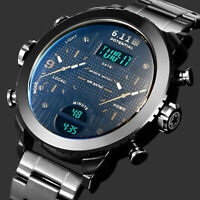 Mens Watch Quartz Digital Black Dial Stainless Steel Band Analog Multifunction