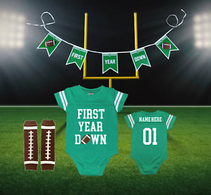 First Year Down Personalized 1st Birthday Green Football Jersey | Free Banner