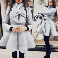 Women's Bow Thick Lapel Duck Down Coat Dress Jacket Slim Fit Long Parka Outwear