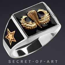 JUMP WINGS PARACHUTE AIRBORNE ARMY RING SILVER 925 with 24K-GOLD PLATED PARTS