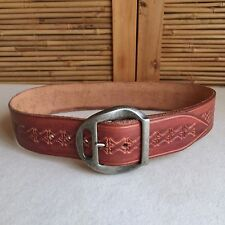 "Vintage 70s RICH Tan COWHIDE Tooled LEATHER Cowboy WESTERN Wide BELT 28"" - 30"""