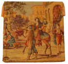 """Antique Tapestry Aubusson Style Spanish Market Wall Hanging 18"""" x 18"""""""