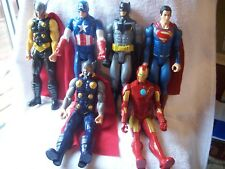 LOT OF 6 DC COMICS AND MARVEL 12 INCH ACTION FIGURES BATMAN SUPERMAN IRONMAN ECT