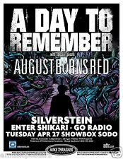 A DAY TO REMEMBER/AUGUST BURNS RED/SILVERSTEIN 2010 SEATTLE CONCERT TOUR POSTER