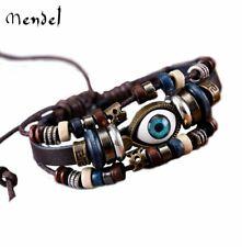 MENDEL Mens Womens Devil Tribal Blue Evil Eye Leather Bracelet Cuff Wristband