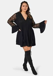 The Poetic Gypsy - Black Love Lace Dress  -  Size 16