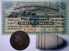 1860s CONFEDERATE Era $35 RAILROAD Intrst Note Civil War BULLET+1865 1 CENT CoinConfederate Currency - 3414