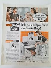 1938 Gas Range Speed Broiler Woman Cooking Mixed Grill Oven Stove Ad