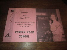 ROMPER ROOM SCHOOL PROMO CARD 1960S ORIG AUTOGRAPHED BY MISS GINNY