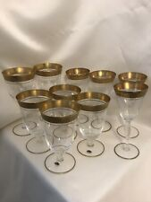 10 Mixed Lot Wine Glasses / Water Goblets Ornate Gold Trim At Top And Base