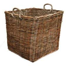 Fireside Square Extra Large Log Basket Wicker Rattan Stove Wood Storage - Brown