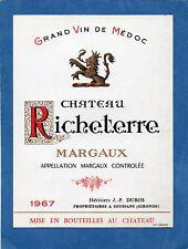 MARGAUX ETIQUETTE CHATEAU RICHETERRE 1967 73 CL RARE         §30/03/17§