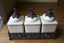 GRACIOUS GOODS HOPE FAITH & LOVE CANISTER SET WITH STAND IVORY