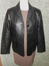 180 K5 JULIA S. ROMA mujer marcas Cuero Chaqueta Blazer Talla 42 Negro de